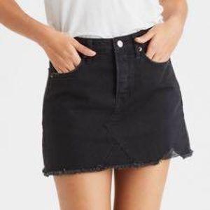 American Eagle black distressed denim skirt